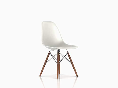 Herman Miller Eames Molded Plastic Dining Chair, White Shell/Chrome Base/Walnut Leg