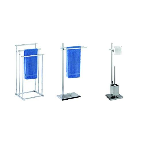 WENKO Piantana portarotolo e scopino WC Quadro - tubo squadrato, Acciaio, 23.5 x 72.5 x 18.5 cm, Cromo