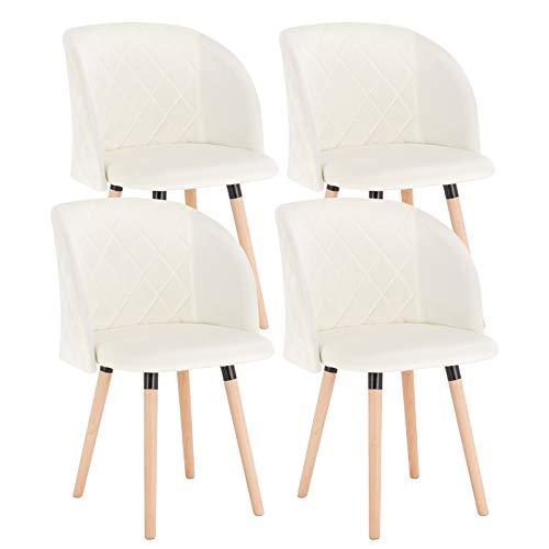 EUGAD 0300BY-4 4X Esszimmerstühle Wohnzimmerstuhl Polsterstuhl Küchenstuhl mit Beine aus Massivholz, Retro Design, Samt, Cremeweiß