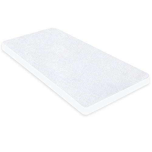 Waterproof Mattress Protector, Smooth Bamboo Crib Mattress Cover(92x42cm), Ultra Soft & Hypoallergenic, White