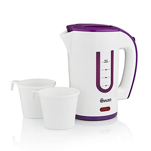 Swan SK27010N Dual Voltage Fast Boil Lightweight & Compact Travel Kettle with Two Tea Cups, Plastic, 1000 W, White/Purple