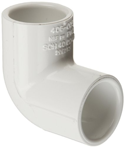 """Spears 406 Series PVC Pipe Fitting, 90 Degree Elbow, Schedule 40, White, 2"""" Socket"""