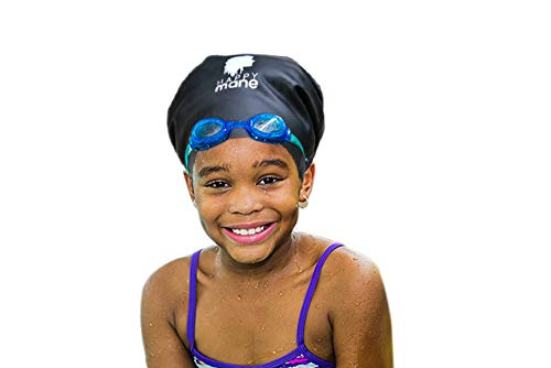 Happy Mane Silicone Swim Cap for Braids and Dreadlocks - Keeps Your Hair Dry While Swimming and Bathing Long Hair, Extensions, and Curly Hair - Large Shower Cap for Women, Men, Kids (Black, Small)