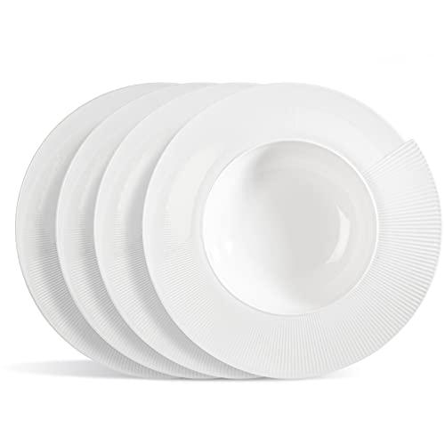 Urban Lifestyle 4 x Pastateller/Salatteller/Porzellanteller/Suppenteller in Muschelform aus Porzellan Genova Ø 28cm
