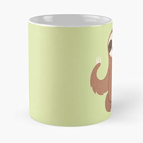 Taza de café de cerámica con diseño de perezoso para niños, mostaza, color amarillo