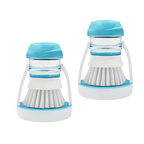 ITTAHO 2 Pack Dish Brush with Soap Dispenser,Palm Dish Brush Storage Holder Set,Kitchen Scrubber for Pan,Dishwand,Sink Clean and Vegetables