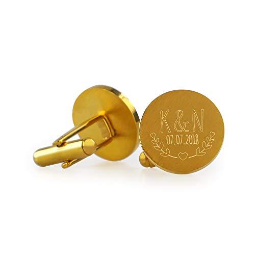 Gravado Runde Manschettenknöpfe aus Gold-Edelstahl mit Blätter Gravur, Personalisiert mit Initialen und Datum, Anzug Accessoires, Herren Schmuck