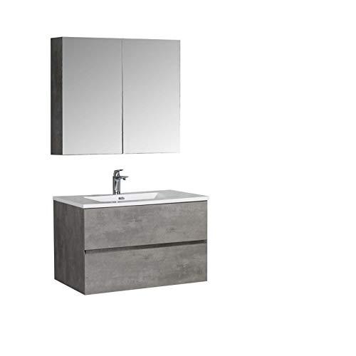 Badmöbel-Set EDGE 850 - Farbe wählbar - Farbe:Beton, Waschbecken-Farbe:Weiß glänzend, Mit Spiegelschrank EDGE