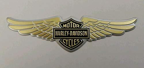 """1 x adesivo in metallo con scritta """"HARLEY DAVIDSON"""" 3D con ali di logo adesivo dorato"""