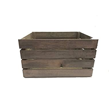 Darla'Studio 66 Antique Gray Stained Rustic Wood Crate