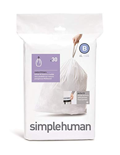 simplehuman CW0161 code B Custom Fit Bin Liners, White Plastic (Pack of 30 Liners)