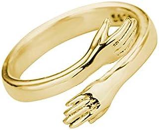 EzonYanGo Couple Hug Ring Romantic Hug Hands Embrace Open Ring Silver Adjustable Hug Ring for Couple Men Women Jewelry