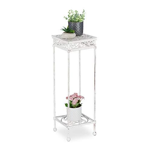 Relaxdays Blumenhocker Gusseisen, für innen & außen, Landhausstil, eckig, Pflanzenhocker, HxBxT: 73 x 24 x 24 cm, weiß, 1 Stück