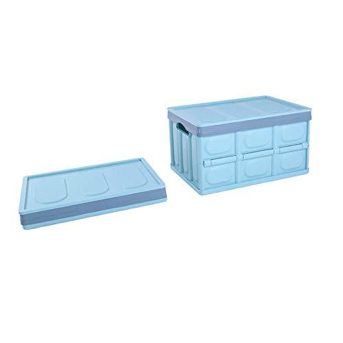 ZLZL inklapbare opbergdoos (50 liter) opvouwbare gereedschapskist voor sluiting, huis, auto, reisorganisatie | Heavy-Duty Plastic Organizers W/Carry Handles | Ruimtebesparend Blauw