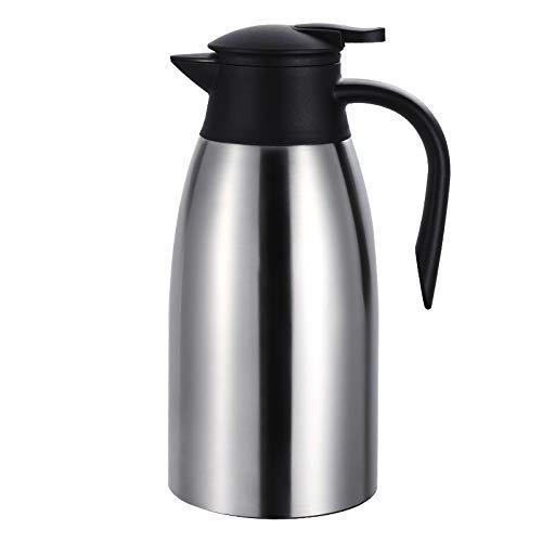 Edelstahl Thermoskannen 2 liter, Isolierkanne Edelstahl, Kaffeekanne, Teekanne, Edelstahl Doppelwandig Kaffeekanne Thermo Quick Press Verschluss hält Getränke 24h kalt und warm