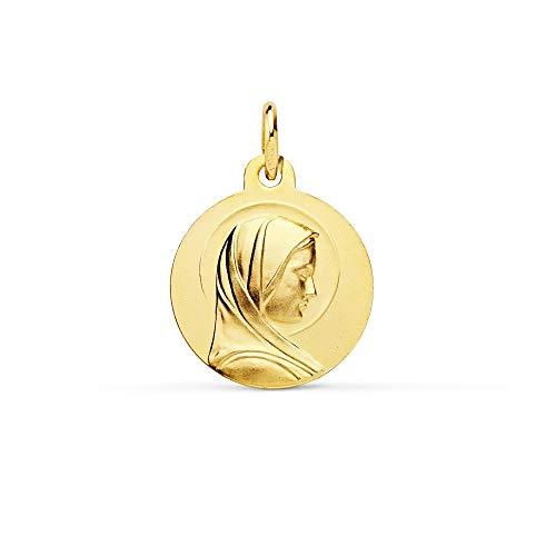 Medalla Oro 18K Virgen María Francesa 16mm. Lisa [Ac0957]