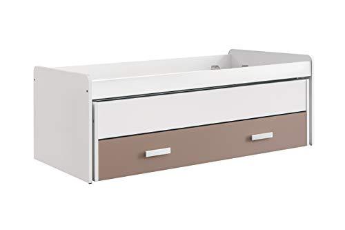 Venprodin Cama Nido Doble Compacta Juvenil con 2 Cajones Color Blanco y Moka Medidas : 74 cm (Alto) x 201 cm (Ancho) x 100 cm (Prof)