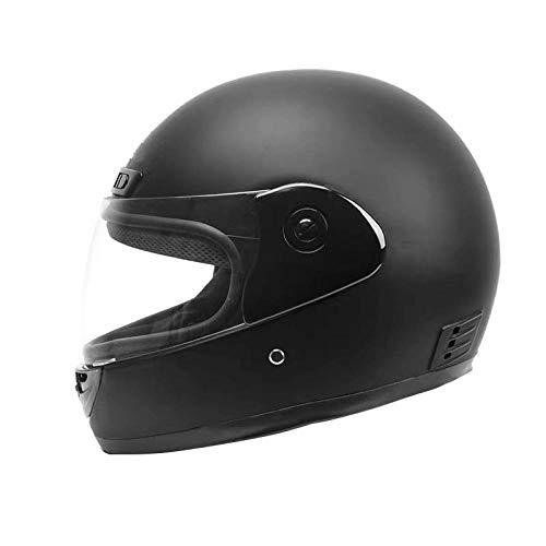 HNLong Cascos de Moto para Hombres y Mujeres, Cascos de batería, Cascos de vehículos eléctricos, Cascos de Invierno, Cascos integrales-Negro Mate