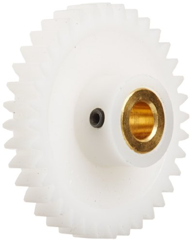 Boston Gear YPB2424 Spur Gear, Molded Delrin with Brass Inserts, Inch, 24 Pitch, 0.250' Bore, 1.083' OD, 0.250' Face Width, 24 Teeth