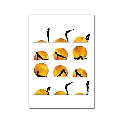 KAKYD Yoga Chart Sun Sport Posters Prints Abstract Wall Art Canvas Painting Bodybuilding Modern Room Home Decoration 40X60Cmx1 No Frame