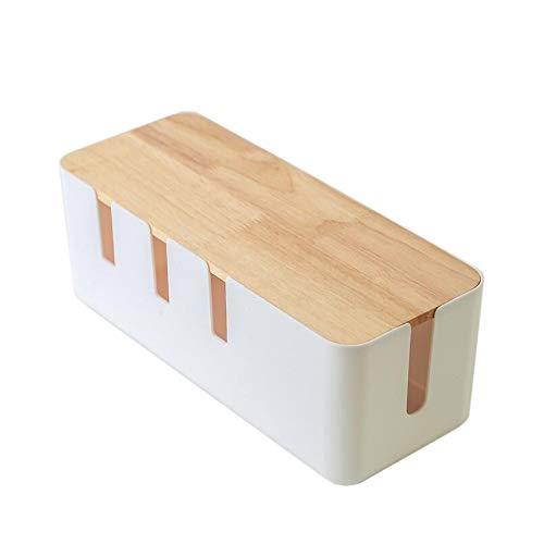 JCNFA Cable Management Box Organizer vroeger ABS materiaal houten stijl, 12 x 4,52 x 4,92 inch grote kabelkast organisator voor USB-hub tafelstekkerdoos TV Computer Home Entertainment 12*4.52*4.92in wit + hout.