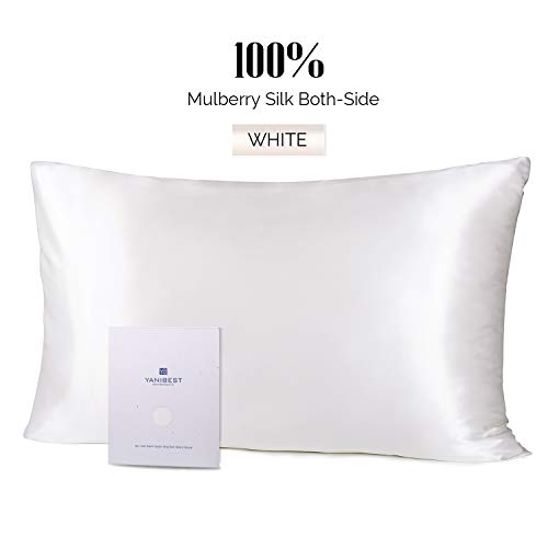 YANIBEST Silk Pillowcase for Hair and Skin - 21 Momme 600 Thread Count 100% Mulberry Silk Bed Pillowcase with Hidden Zipper, 1 Pack Queen Size Pillow...