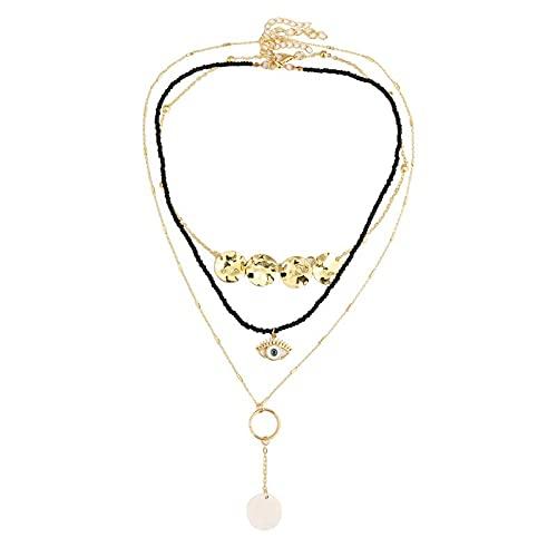 wuxia 3 unidades/set 2021 moda bohemia étnica redonda metal Shell mal ojo colgante collares mujeres hecho a mano cadena de cuentas collar en capas (color metal: N305-3)
