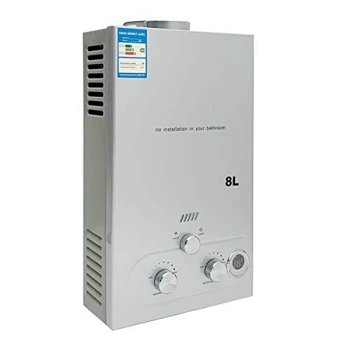 SUDEG LPG Durchlauferhitzer, 8L / min 16 kW Durchlauferhitzer Digitalanzeige mit Beschichtung Duschkopf-Kit Wand-Warmwasserbereiter Sofortbad Silber