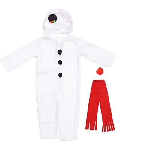 ABOOFAN 4 Piezas Disfraz de Muñeco de Nieve para Niños Disfraz de Olaf Pijamas para Niños de Peluche de Una Pieza Cosplay Disfraz de Muñeco de Nieve de Vacaciones para Niños Pequeños