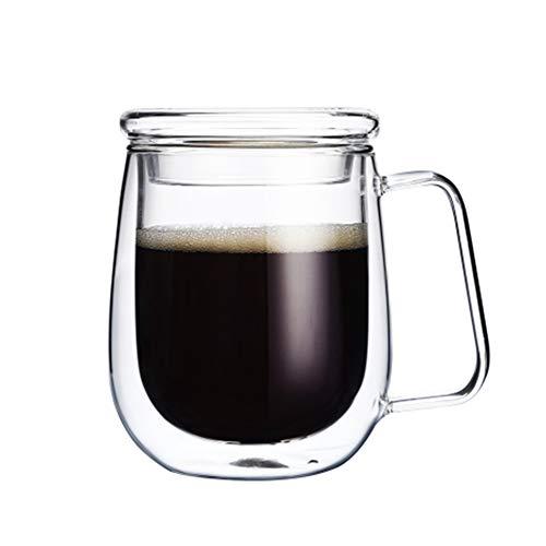GXLXY Vidrio Creativo de Doble Aislamiento, Taza de té con asa Taza de café Minimalista Retro Copa IKEA Transparente