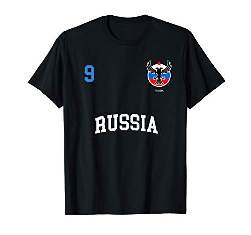 Squadra Calcio Russia Numero 9 Bandiera Russo Maglietta