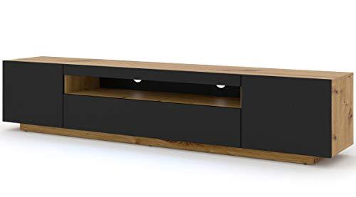 Mueble bajo para TV Aura, 200 cm, para colgar o de pie, universal, mueble para televisión, aparador, mesa de alta fidelidad (roble Artisan y negro mate sin LED)