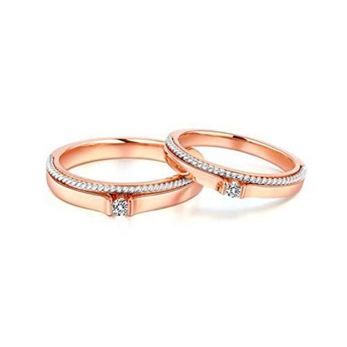 Bishilin Anillos para Hombres y Mujeres, Bandas de Compromiso 18K Oro Rosa Mujer Talla 11 & Hombre Talla 25 Espiral Blanco Diamante Anillo de Fiesta de Ajuste Cómodo Pulido Plata Oro Rosa