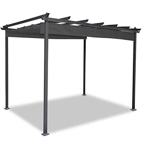 idmarket – Pergola tejado retráctil gris 3 x 3 m Cenador 4 patas ...