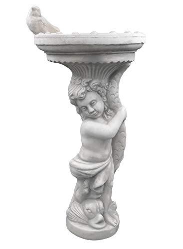 gartendekoparadies.de Wunderschöne Jungen Figur mit Vogeltränke und Vogel aus Steinguss, frostfest