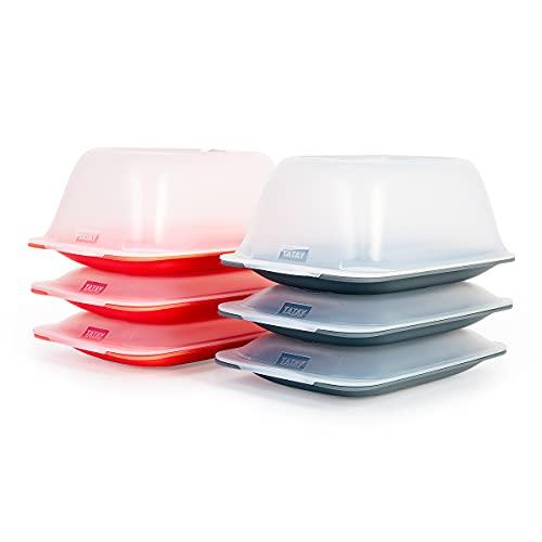 PracticDomus Lote de 4+2 Porta Embutidos y Alimentos Sistema Fresh, 4 Mini y 2 para Queso, Conservación Óptima de Lonchas en Nevera