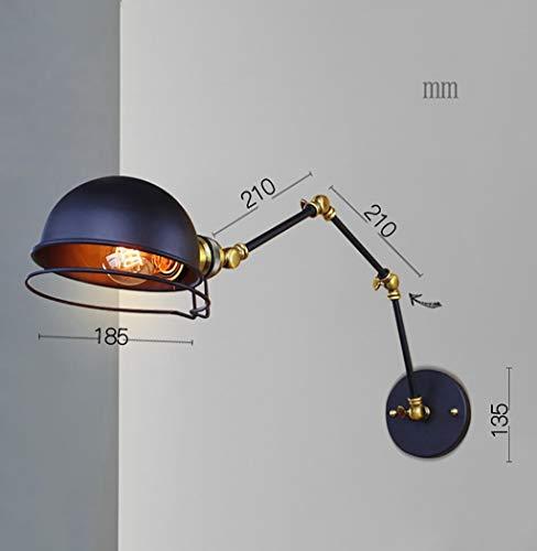 Warm Home Retro wandlamp met dubbele arm Swing Bar verstelbaar E27 Edison-fitting van metaal keuken slaapkamer onderdak koffie (lamp niet inbegrepen)