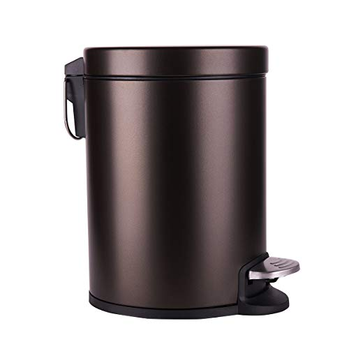 Round Bronze Slim Bathroom Trash Can with Lid Soft Close and Removable Inner Foot Pedal Wastebasket, Small Garbage Can for Bathroom Bedroom Office,Metal Stainless Steel 1.3Gal/5L
