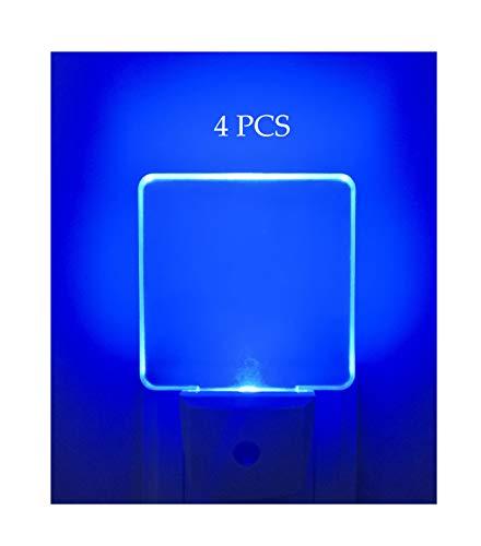 Paquete de 4 luces LED de noche, con sensor de fotocélula del anochecer al amanecer, luces nocturnas para recámara, baño, cocina, diseño cuadrado, color azul