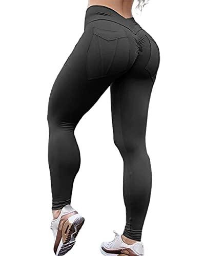 XHJZ Pantalones de Yoga de Cintura Alta para Mujer Crujido contra Tope Fruncido Tope Levantamiento Partituras Pulta Control de Tope 4 Forma Estiramiento Negro Amarillo Borgoña Spandex,Negro,XL
