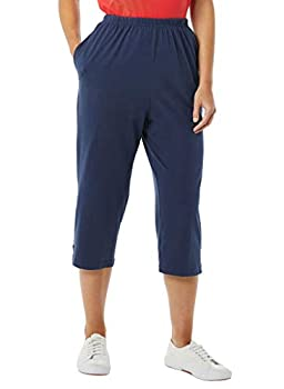AmeriMark Women's Knit Capris – 100% Cotton Pants with Stretch Elastic Waist Navy 3X
