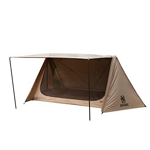 OneTigris Outback Retreat Bushcraft Doppelzelt 4-türiges Camping Shelter Zelt 05 mit 4 Zeltstangen  MEHRWEG Verpackung