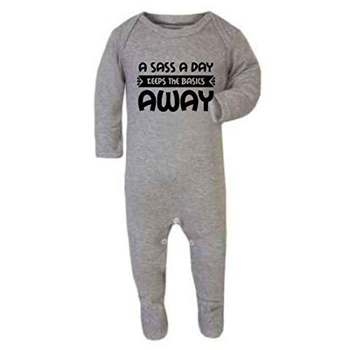 Sass a Day Keep The Basics Away - Mono de bebé con pies, 0-3 meses, color gris