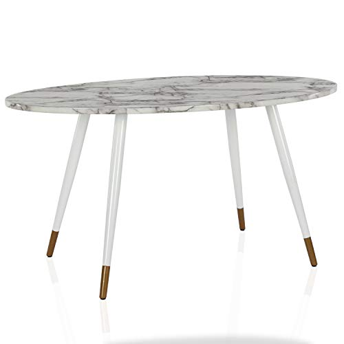 CosmoLiving by Cosmopolitan CosmoLiving Amari Oval Faux Marble, White Dining Table