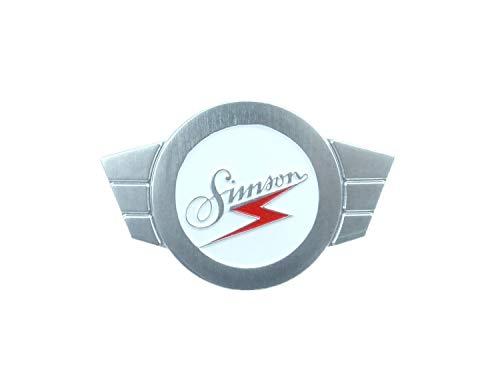Warenzeichenplakette Simsonflügel - Alu, siberfarbig - Firmenschild für Lenkerschale - Kr51, Sr4-2, -3, -4