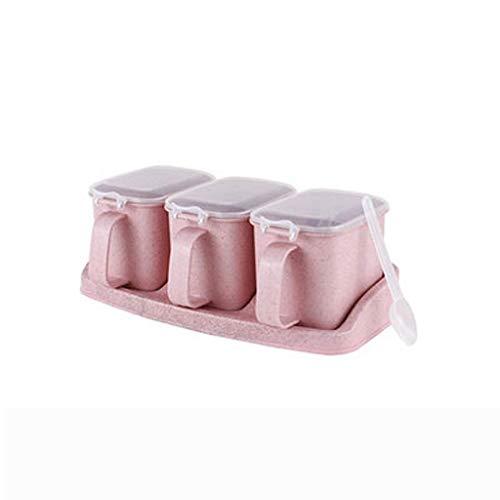 LHQ-HQ Botella de plástico de Color Rosa condimento, condimento Puede Establecer Home con Suministros Cuchara de Cocina con Tapa salero Tarro de Especias