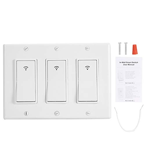 Smart Wifi Switch Timer Wall Light 1/2/3 Gang Light Switch Timer Compatible Con Alexa Google System Control de Voz Con Manos Libres(3gang)
