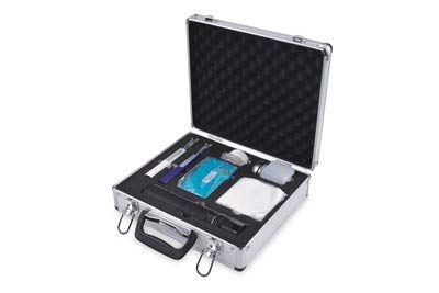 DIGITUS Professional DN-FO-KIT-2 Fiber Juego Fibra óptica con microscopio, Solo Clic y Limpiador de enchufes, Botella con Bomba y toallitas de Limpieza, Multicolor