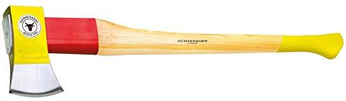 Ochsenkopf Spalt-Fix-Axt, Spaltaxt mit Rotband-Plus Stielbefestigung, Langlebiger Stiel aus Hickoryholz, 3,55 kg