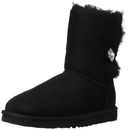 UGG Female Bailey Button Bling Classic Boot, Black, 6 (UK)